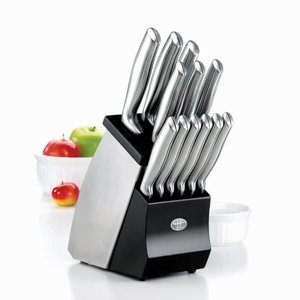 Stainless steel knife set with knife block and sharpener