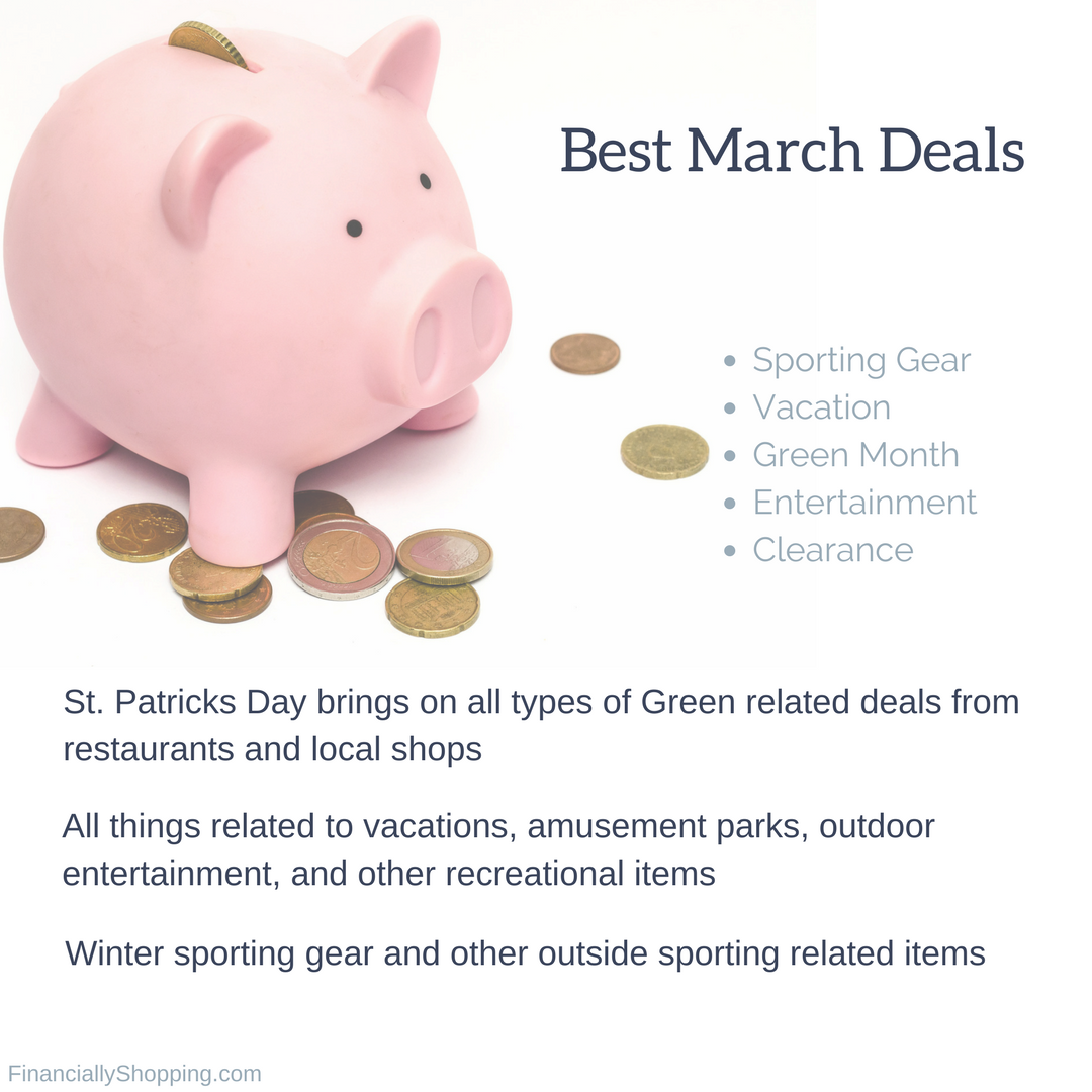 monthly savings. save money on month specific deals sales.
